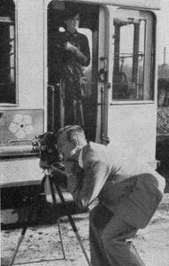 Hellmuth Lange und Erich Schau vom BDFA Braunschweig bei den Dreharbeiten zu Eine Frau steht ihren Mann