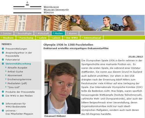 Artikel WWU Münster Olympiafilm